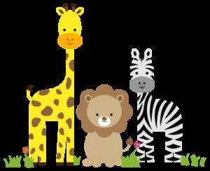 Giraffe, lion, and zebra graphic