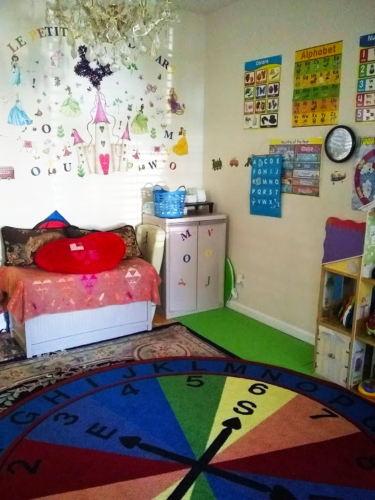 Daycare area with learning posters