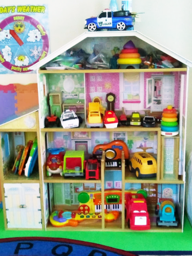 Child's dollhouse upclose picture showing rooms and toys.