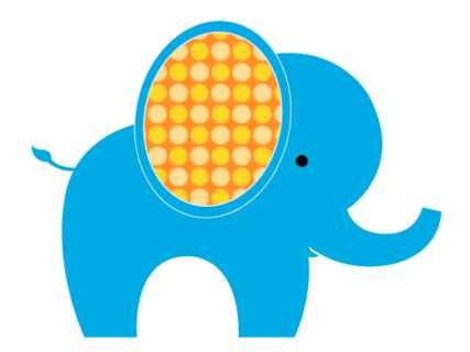 Blue elephant with yellow ear graphic